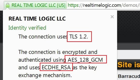Browser using a TLS 1.2 session